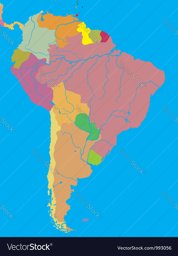 Political Map Of South America Royalty Free Vector Image