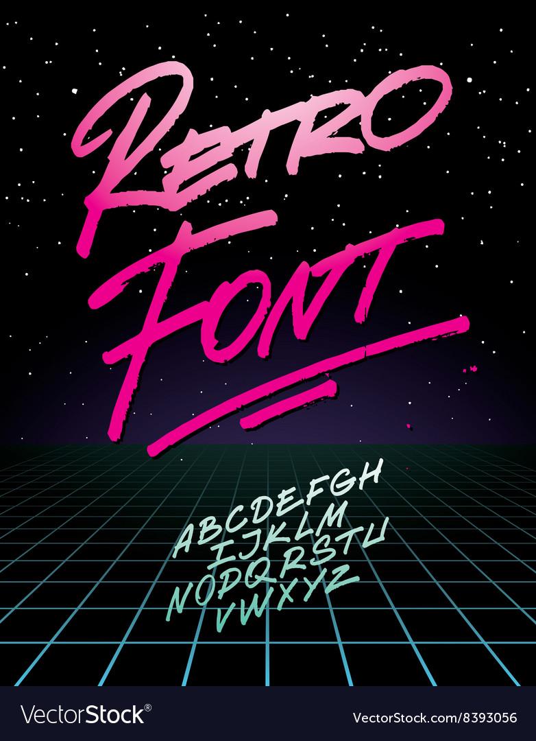 Retro font on light grid background alphabet vector image