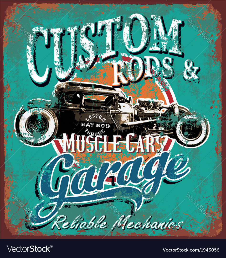 Rusty hot rod garage
