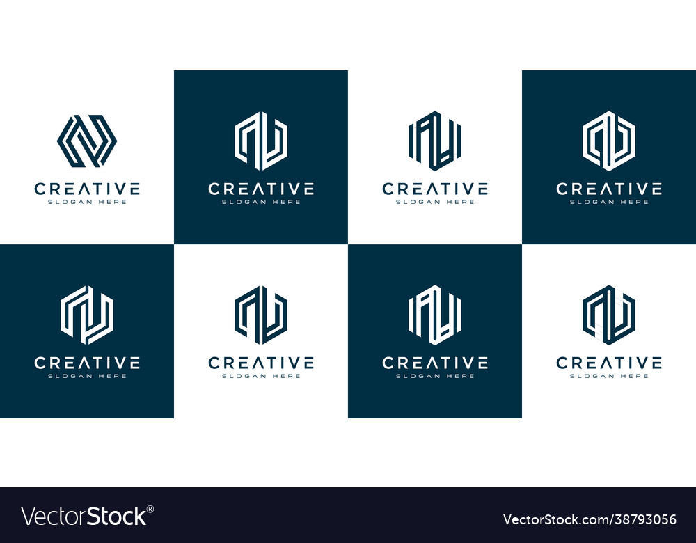 Set initial letter n abstract logo template