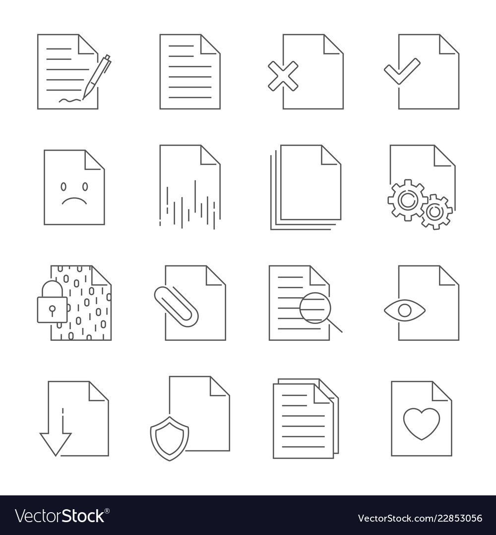 Set of document flow management line icons
