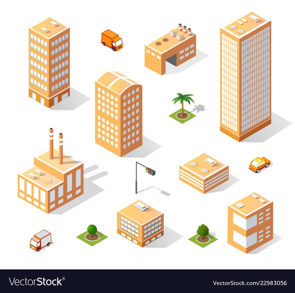 Set of isometric skyscrapers