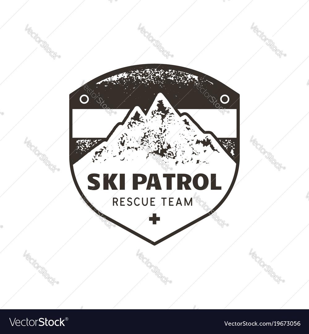 Vintage Hand Drawn Mountain Ski Patrol Emblem Vector Image