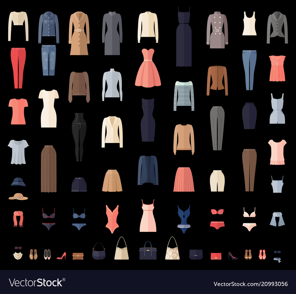Women clothes icons set in flat style