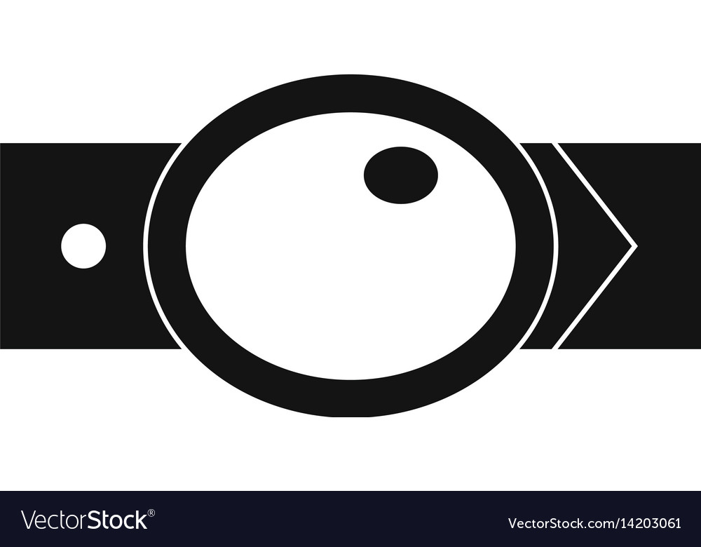 Belt with oval shaped buckle icon simple style vector image