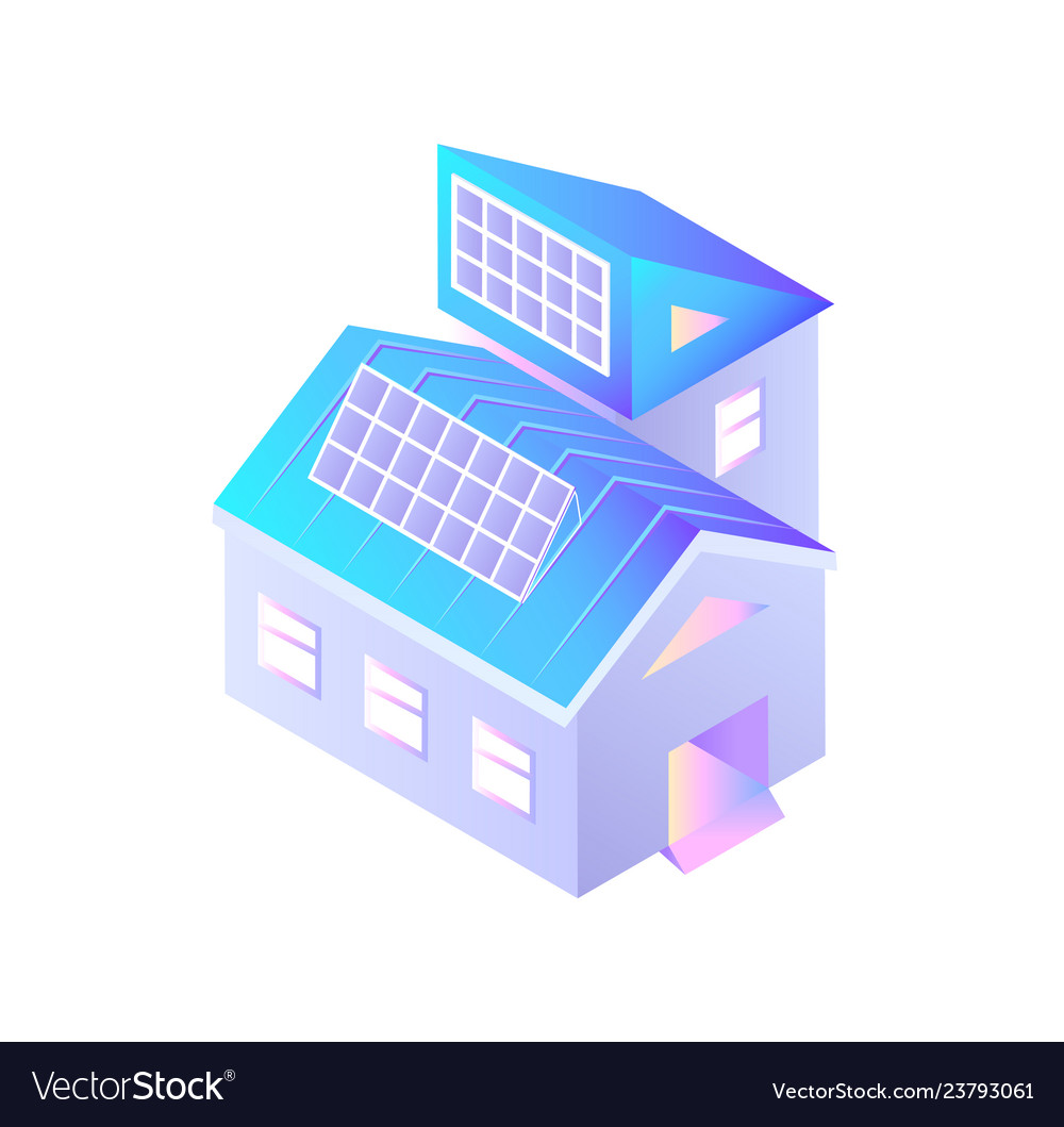 Buildings with installed solar batteries isolated