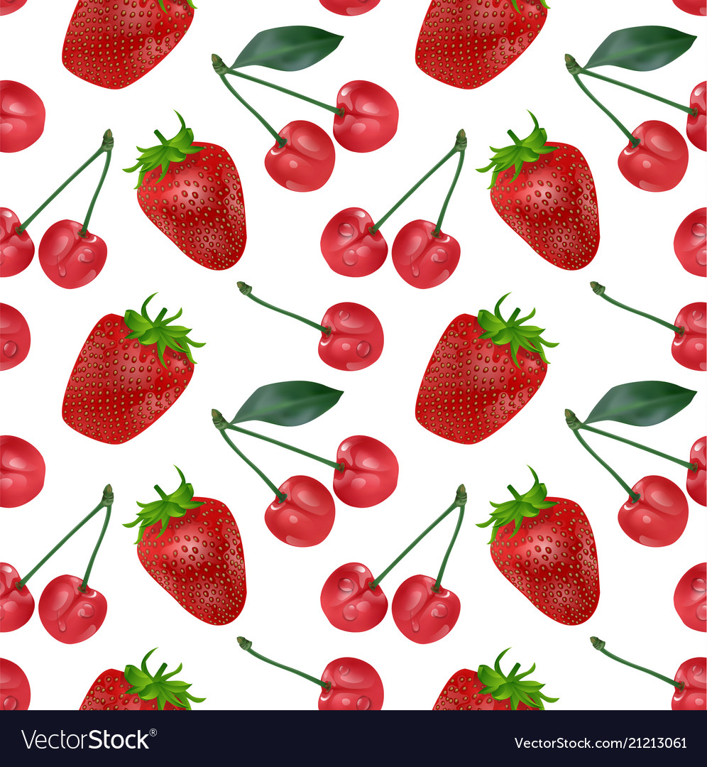Cherries and strawberries seamless pattern good