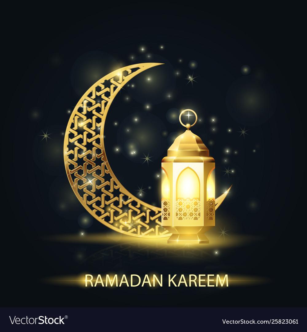 Islamic crescent and lantern covered with arabic
