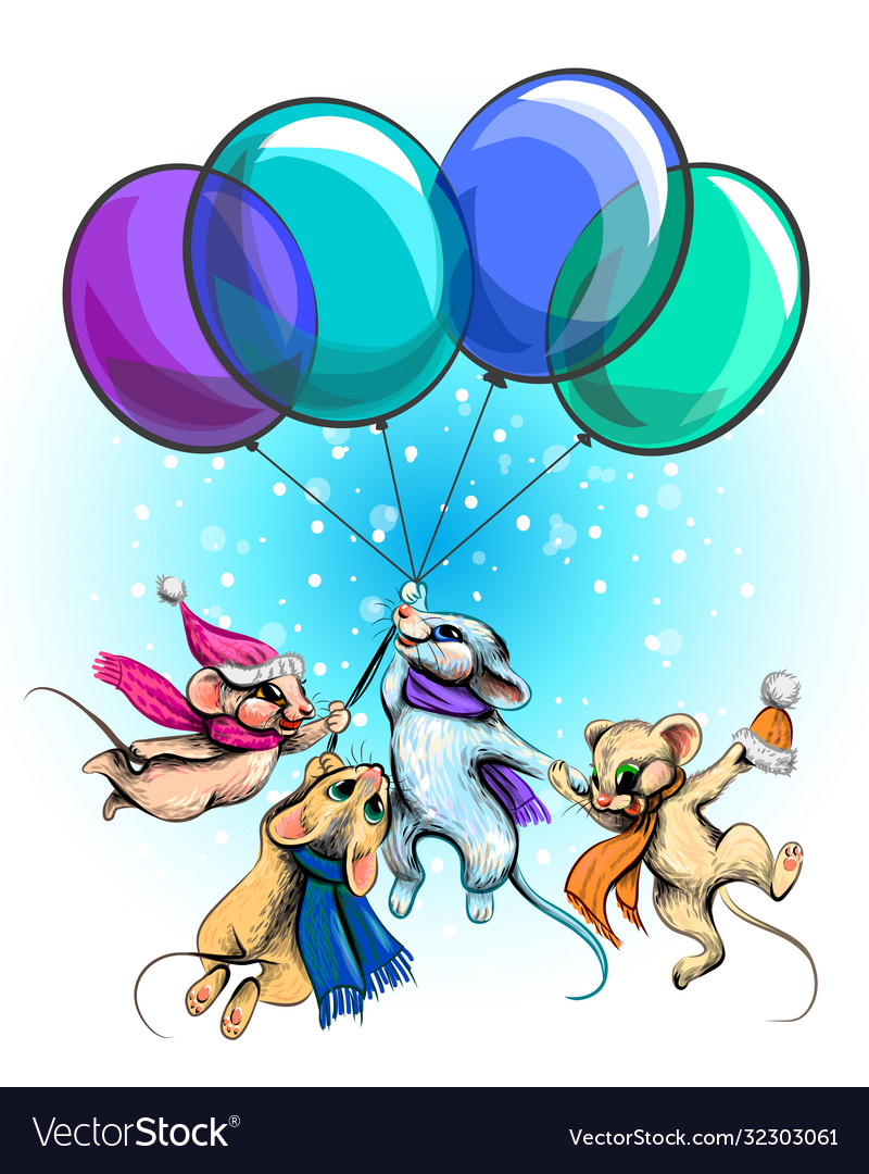 Mice fly on balloons