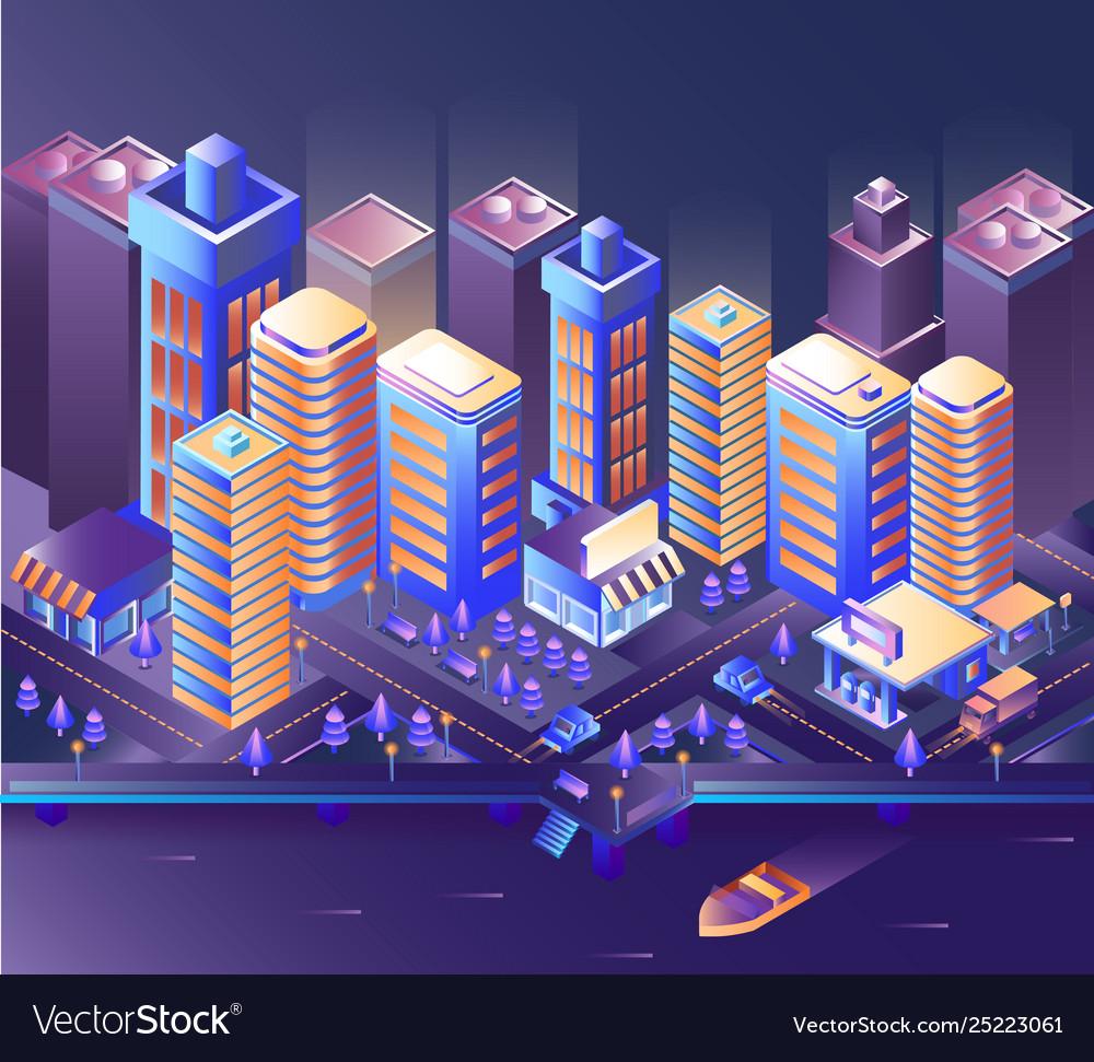 Modern city night modern city night isometry