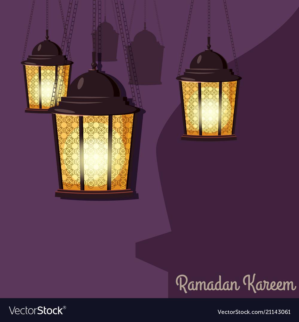 Ramadan kareem greetings intricate arabic lamps