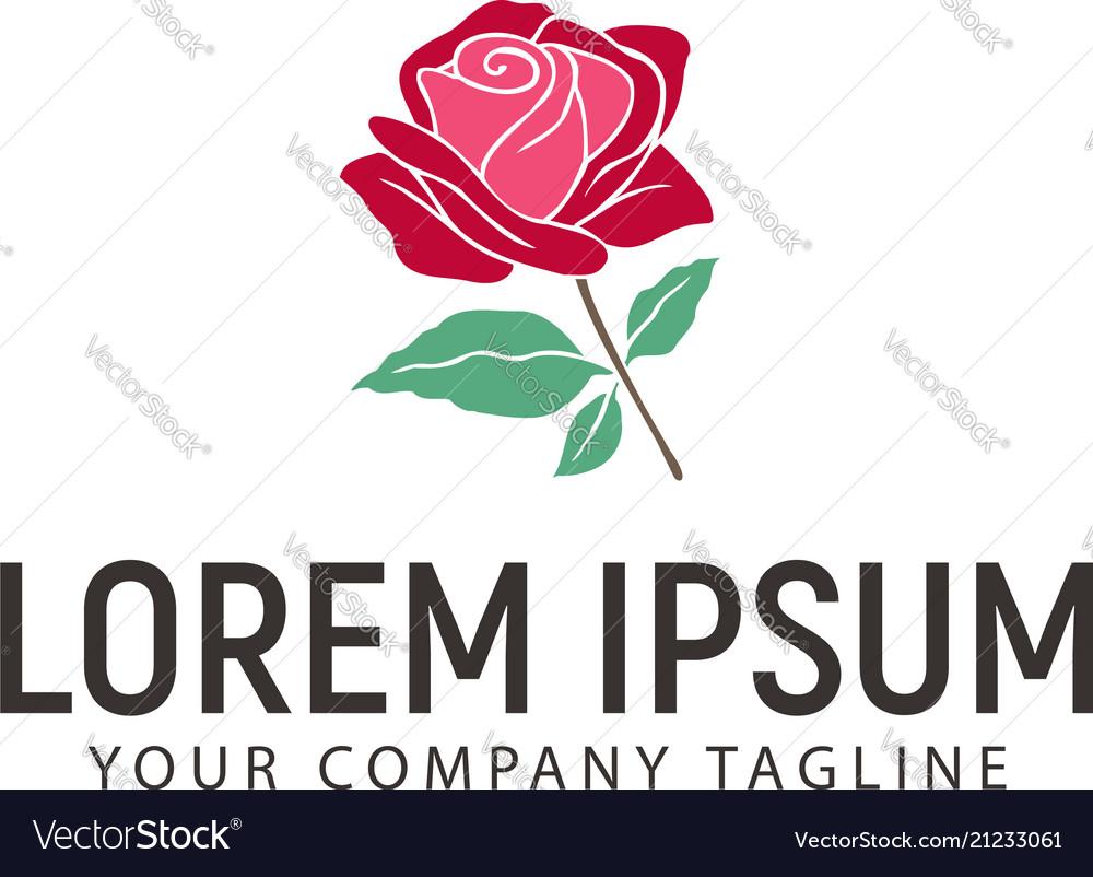 Rose hand drawn logo design concept template