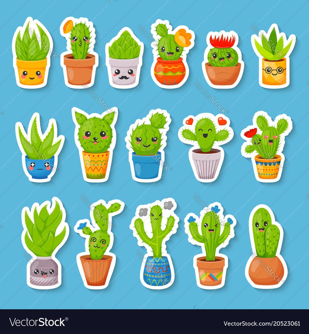 Set 16 cute cartoon cactus and succulents