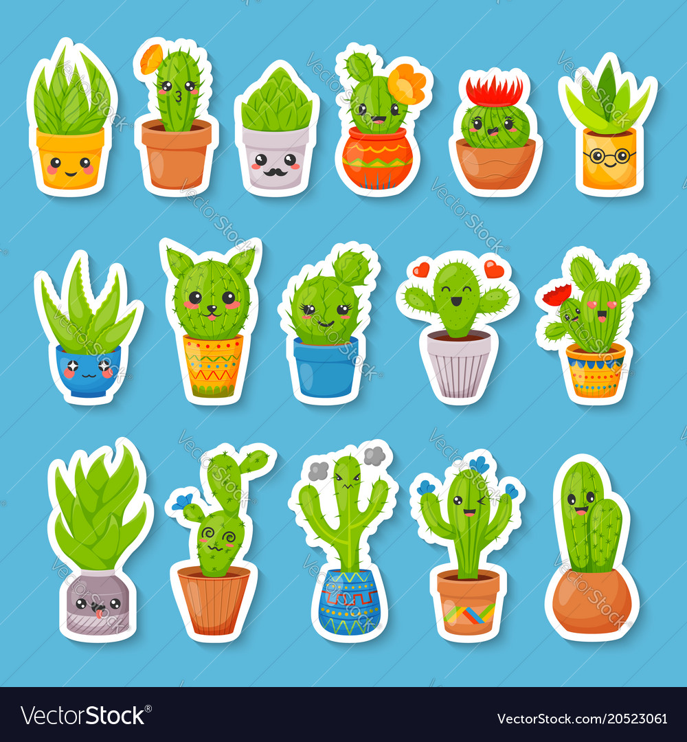 Set of 16 cute cartoon cactus and succulents