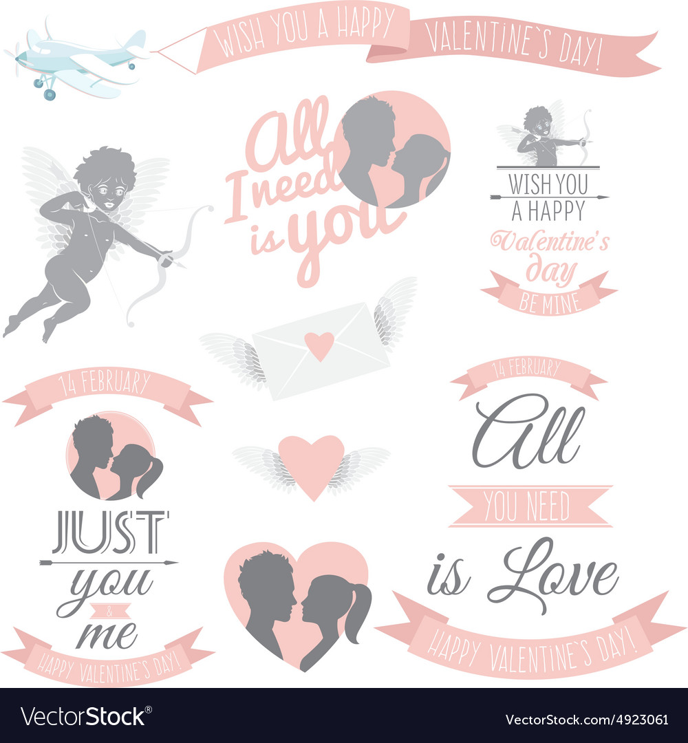 Valentines Day greeting card set