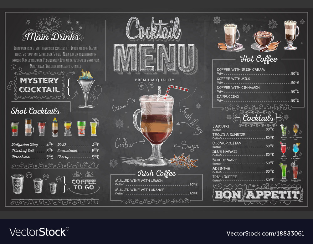 Vintage chalk drawing cocktail menu design