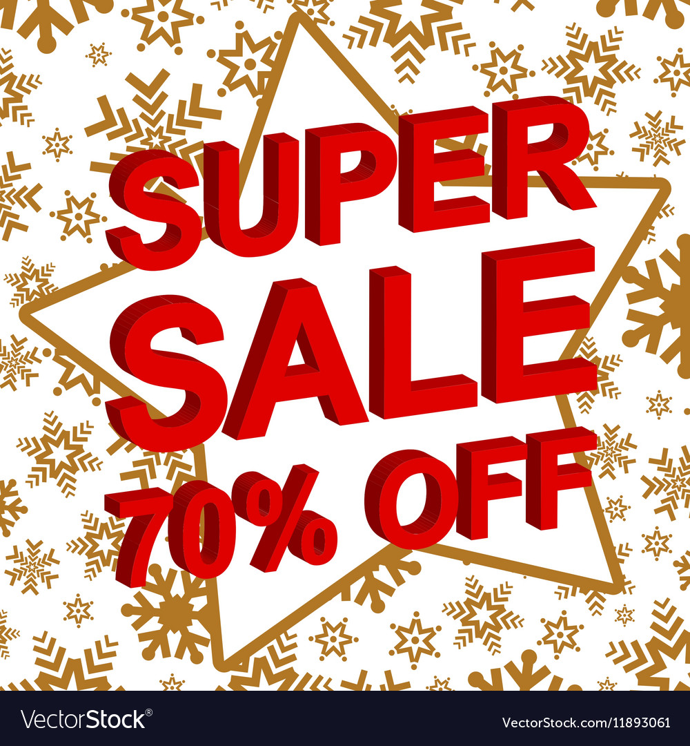 Winter sale poster with SUPER SALE 70 PERCENT OFF