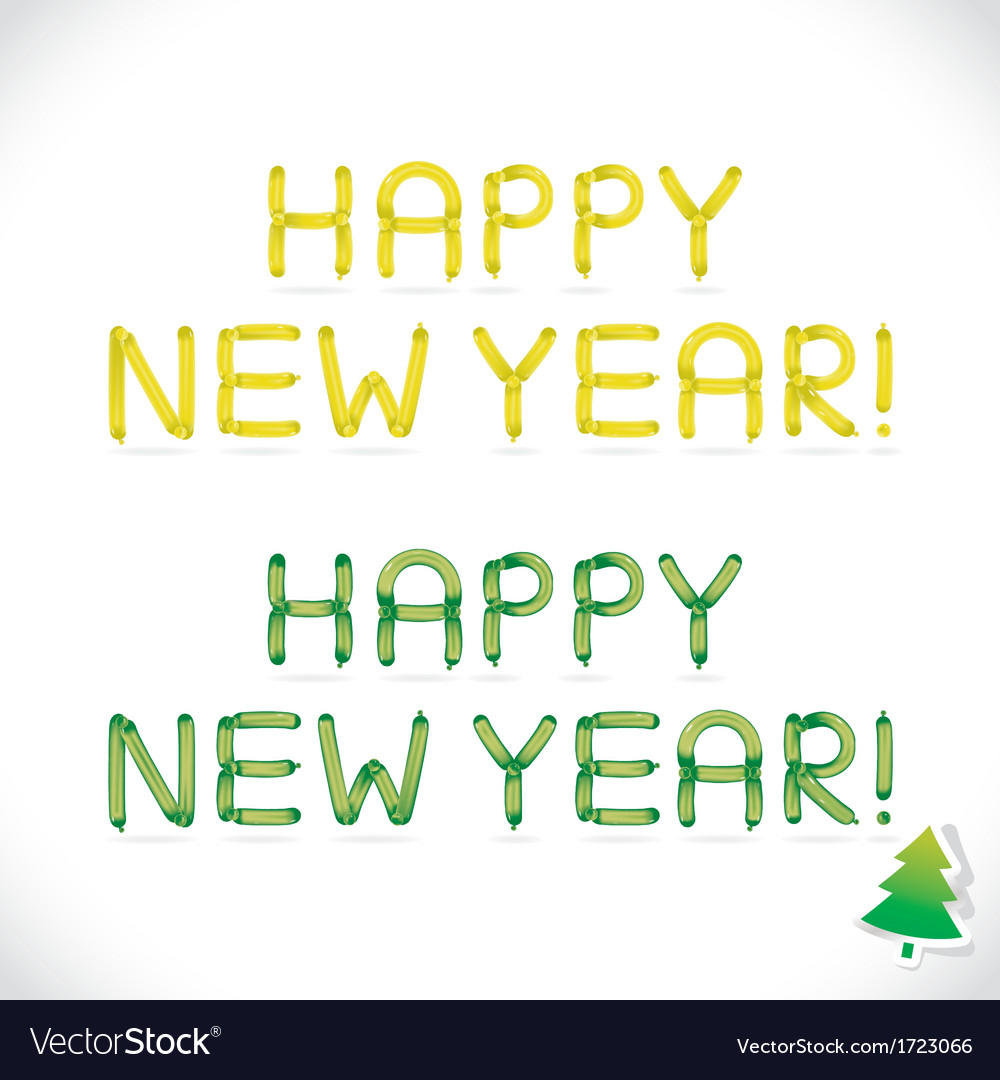 Balloon Happy New Year Phrase Royalty Free Vector Image