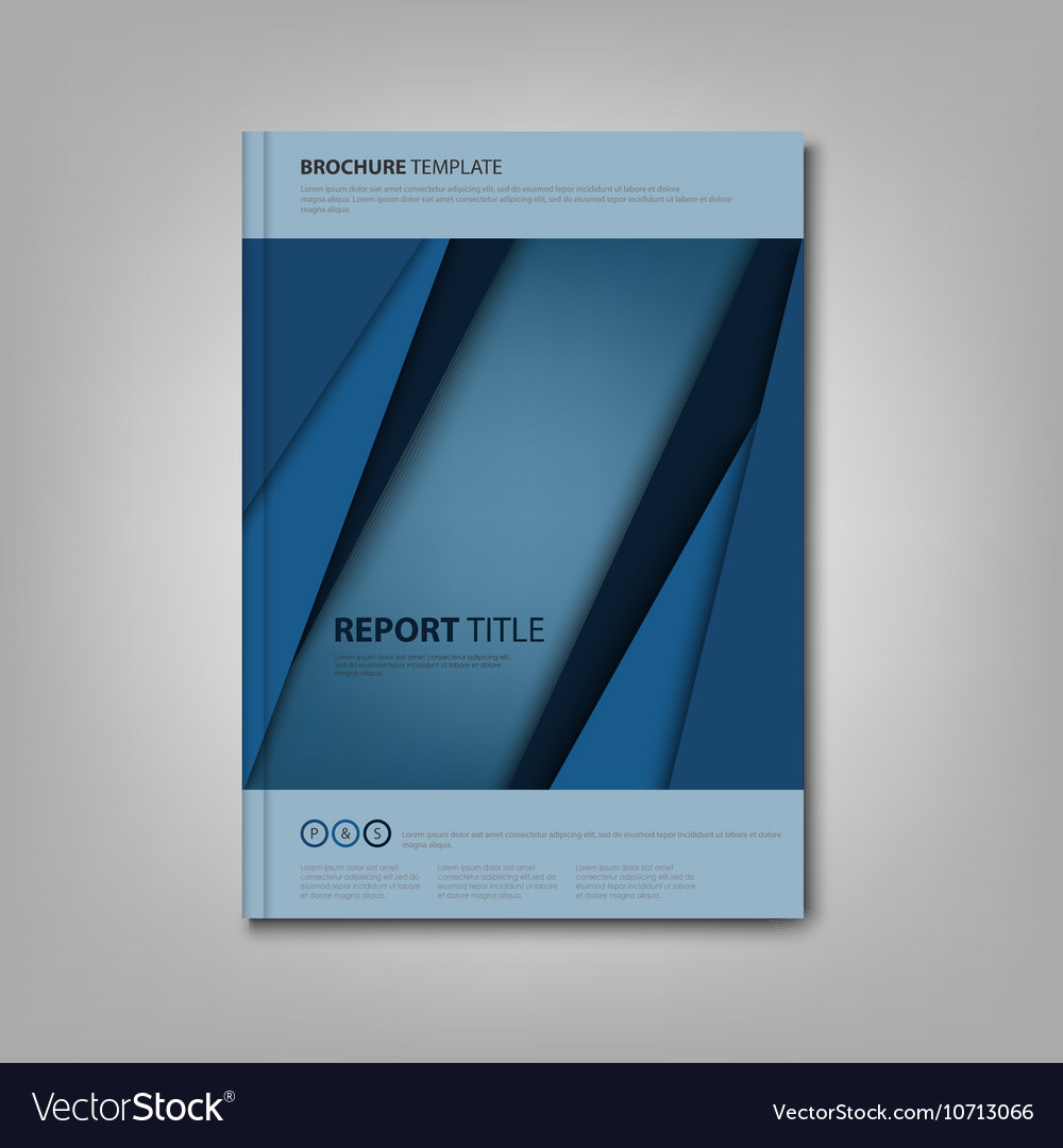 Brochures book or flyer with blue abstract stripes vector image