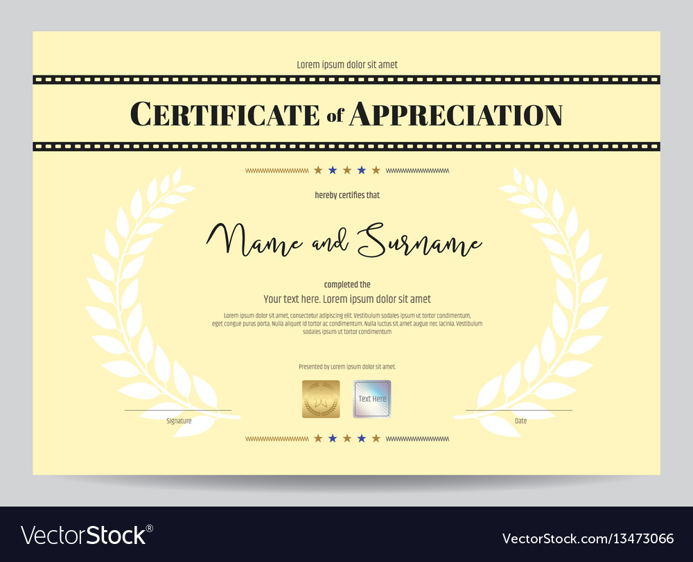 Certificate Of Appreciation Template With Movie Vector Image