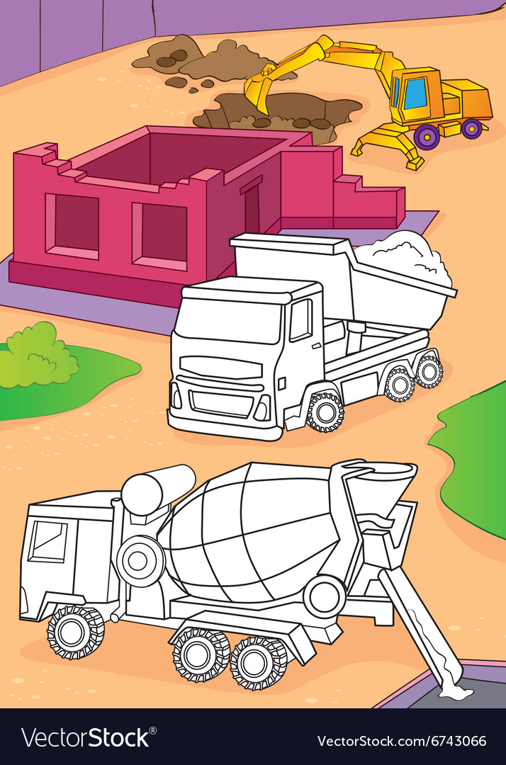Coloring Book Of Cement Mixer Truck And Excavator