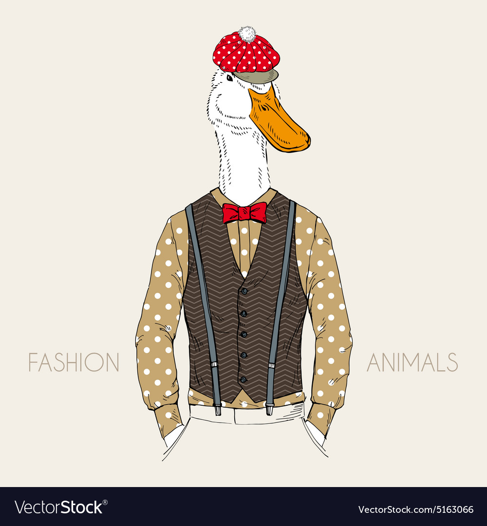 Fashion of goose dressed up in retro style