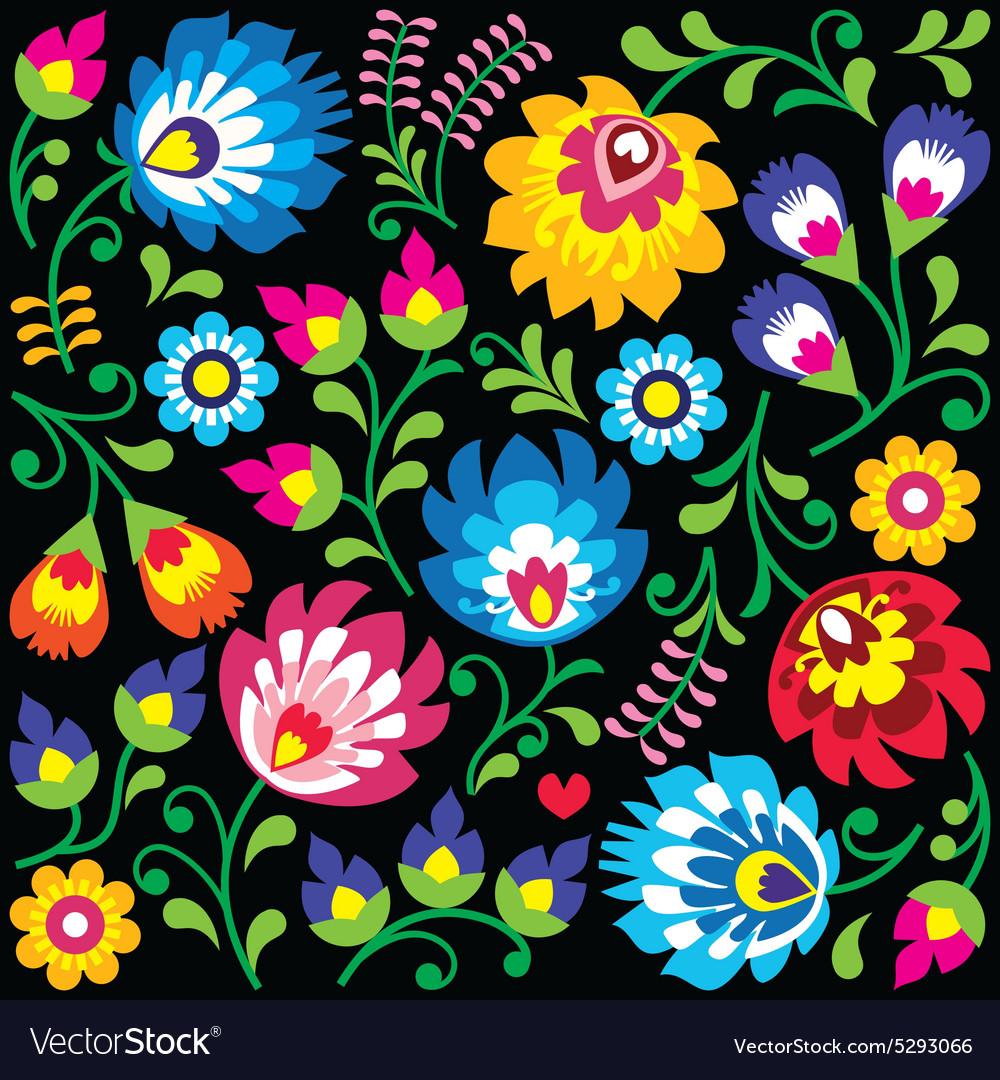 Floral Polish Folk Art Pattern On Black Royalty Free Vector