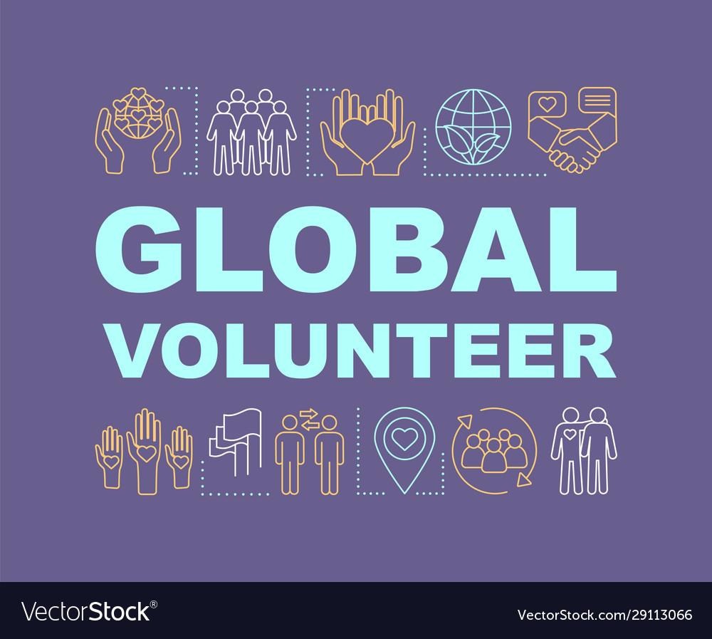 Global volunteer word concepts banner