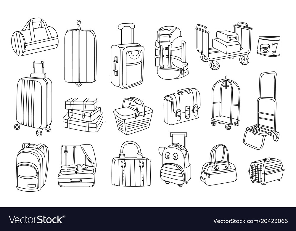 Hand drawn of bags and baggage carts