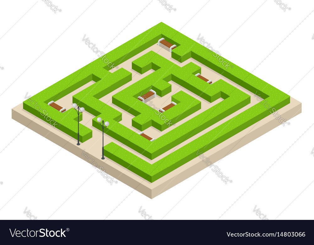 Isometric green plant maze city park and outdoor vector image