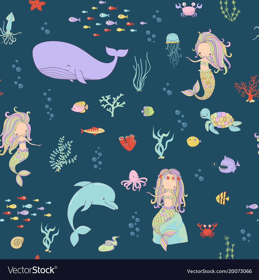Mermaids and sea animals on a dark background