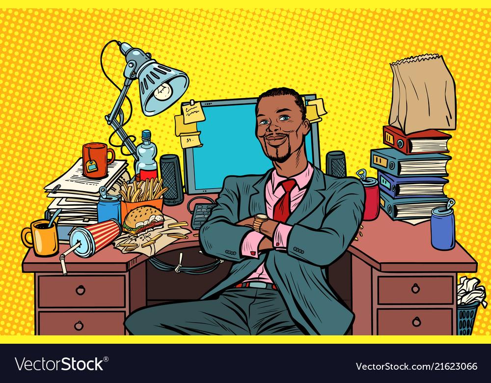 Pop art african businessman workplace