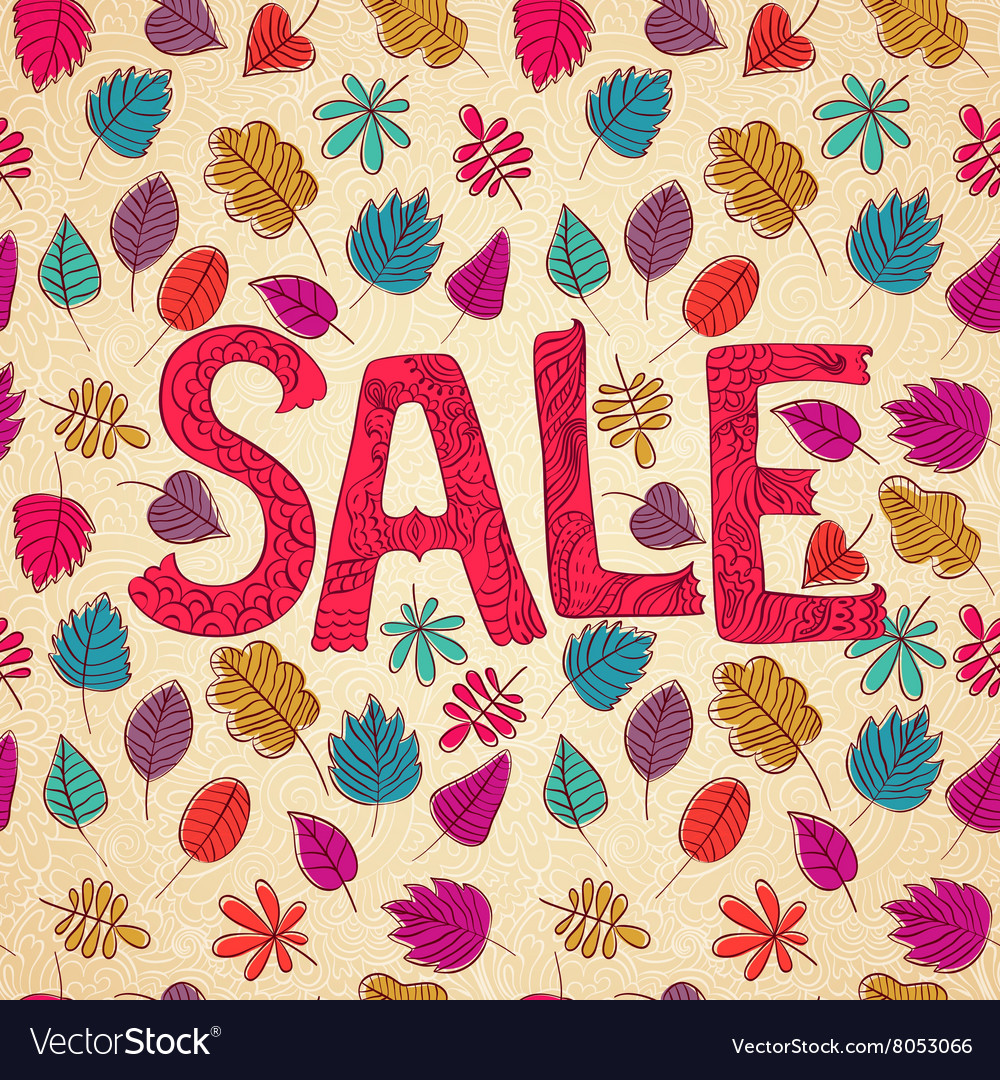 Seasonal autumn sales background with colored leaf vector image