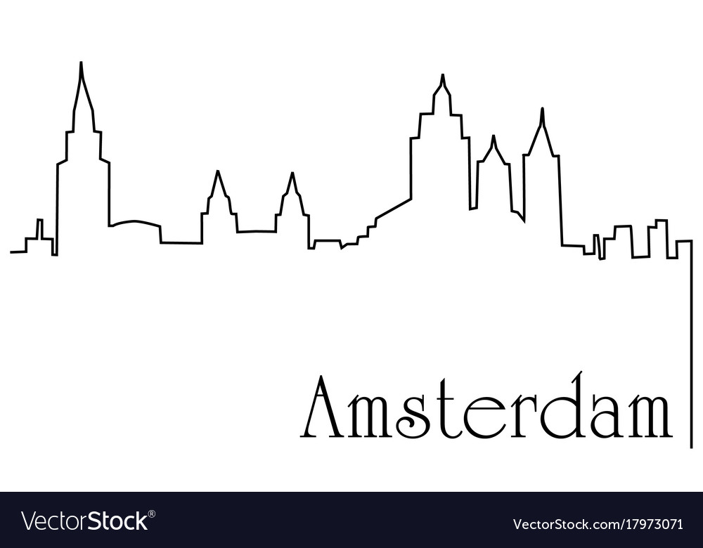 Amsterdam city one line drawing background