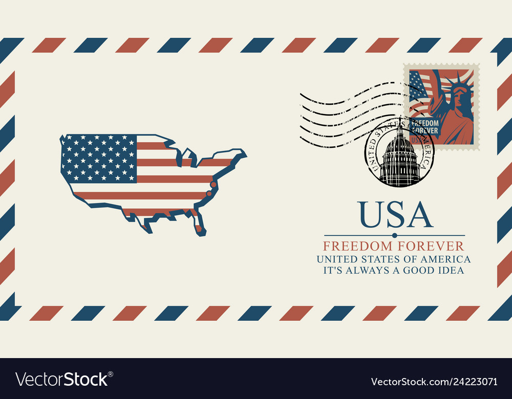 Envelope with map america in colors flag