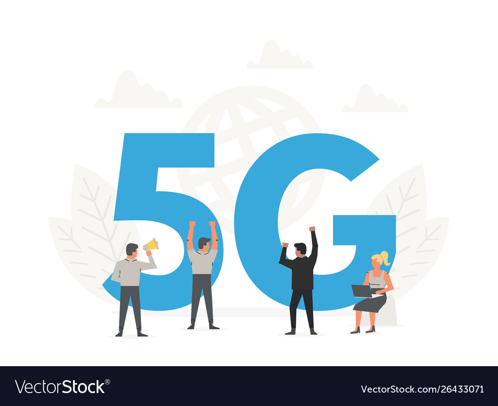 Office people standing around a big letters 5g