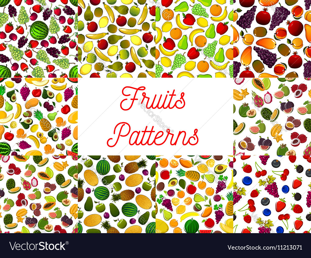 Patterns set of fresh ripe fruits and berries