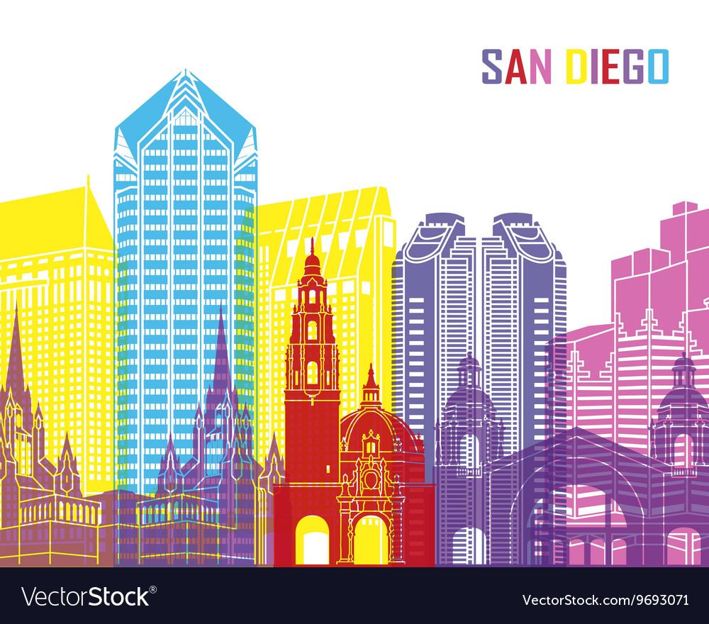 San Diego Skyline Pop Vector Image