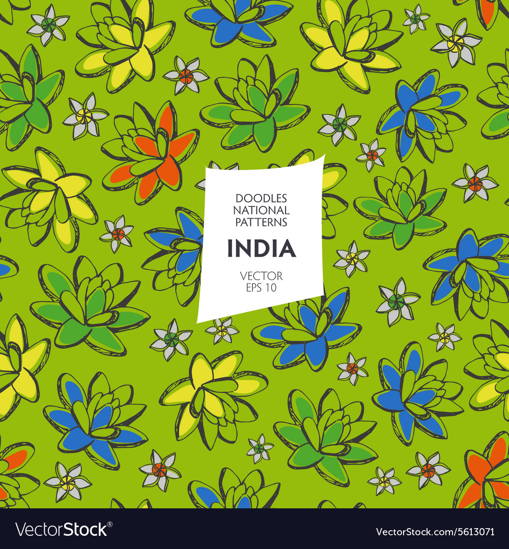 Seamless pattern of tourist attractions of India