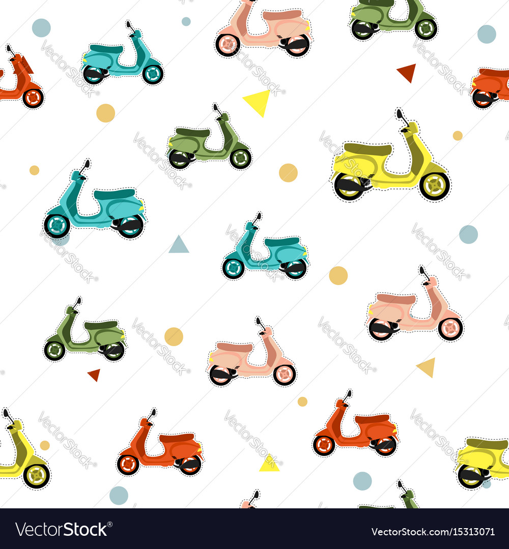Seamless pattern with scooter