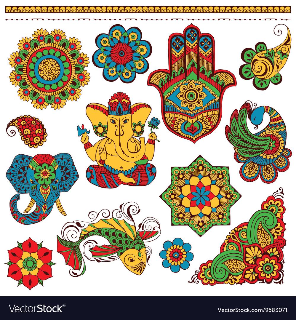 Set indian symbols for design