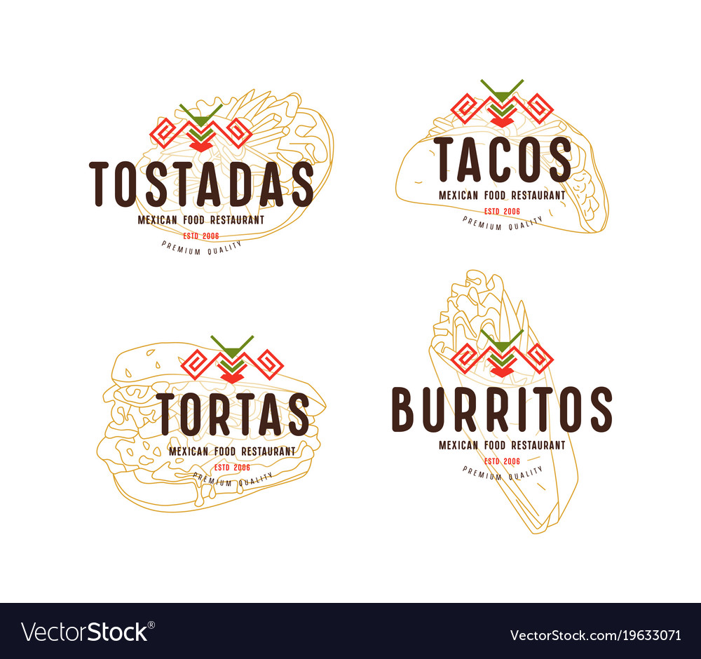 Set of label and logo design for mexican food vector image
