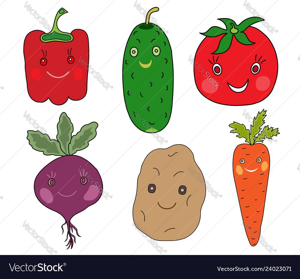 Vegetables set in kawaii style