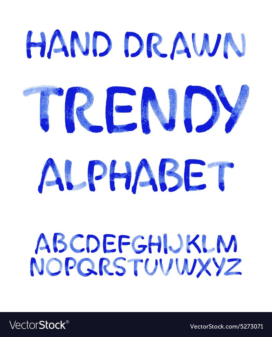 Watercolor hand written blue alphabet