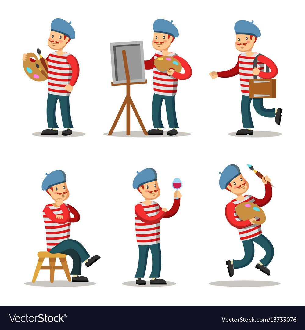 Artist cartoon character set painter with palette