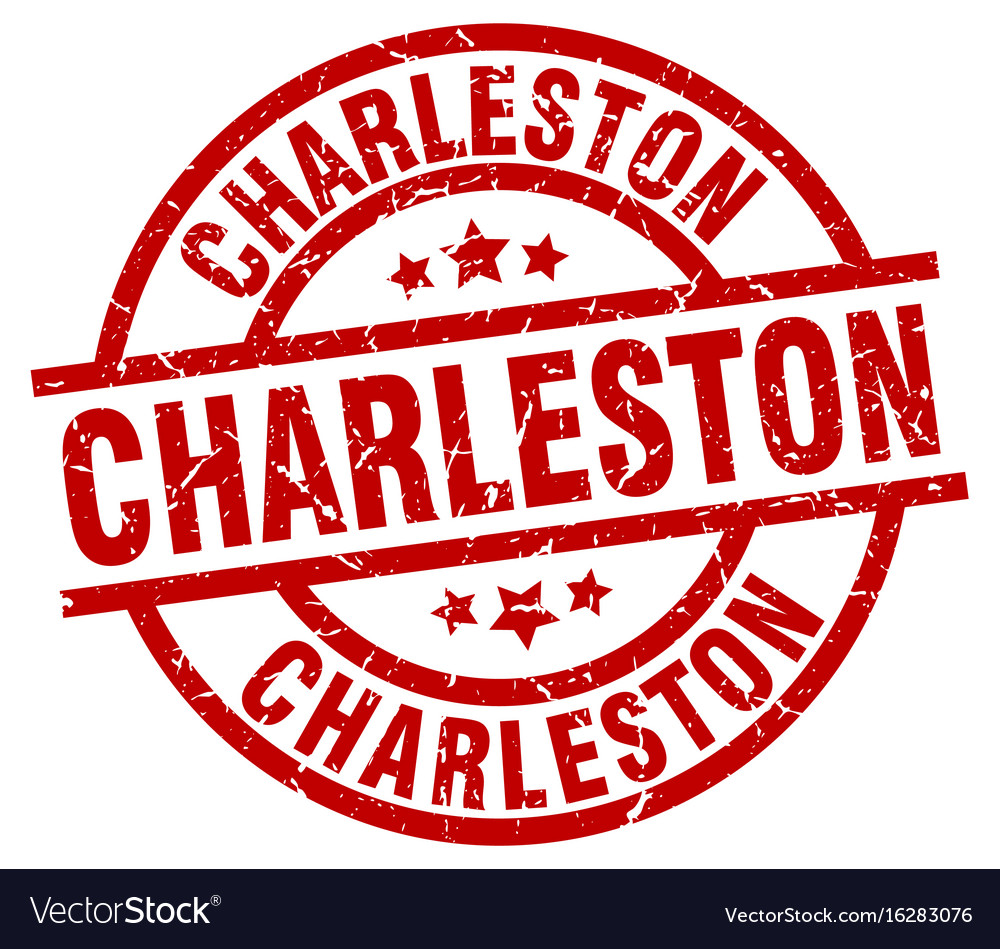 Charleston red round grunge stamp