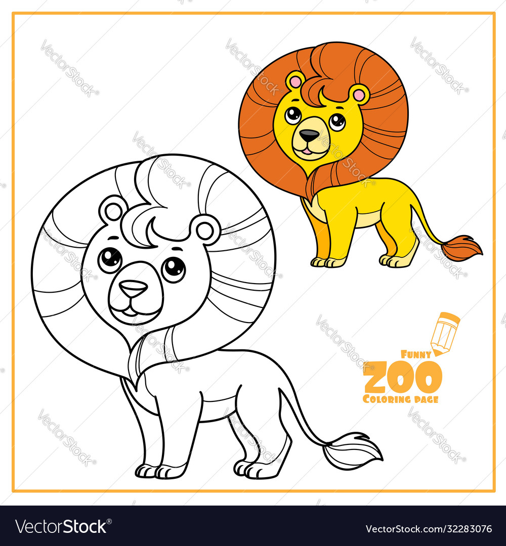 Cute cartoon little lion color and outlined on a