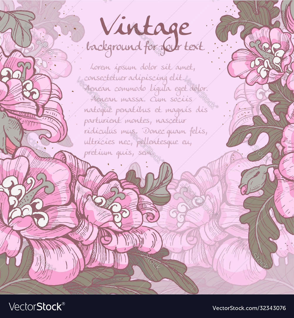 Decorative vintage violet frame poppies