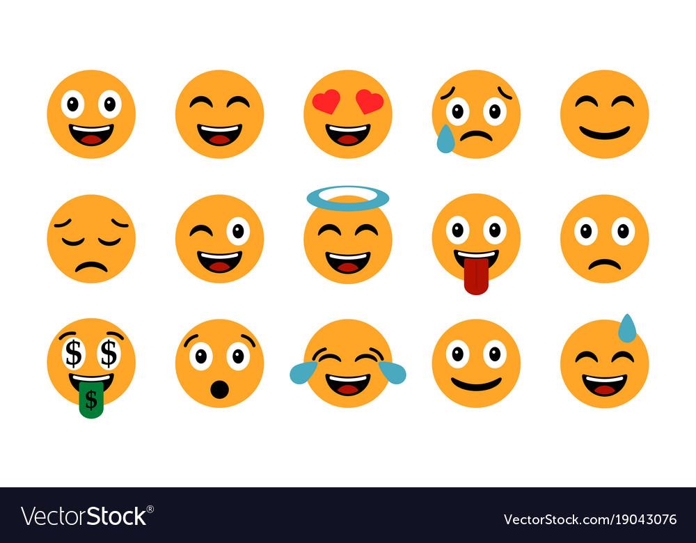Emoticons set emoji smile icons isolated