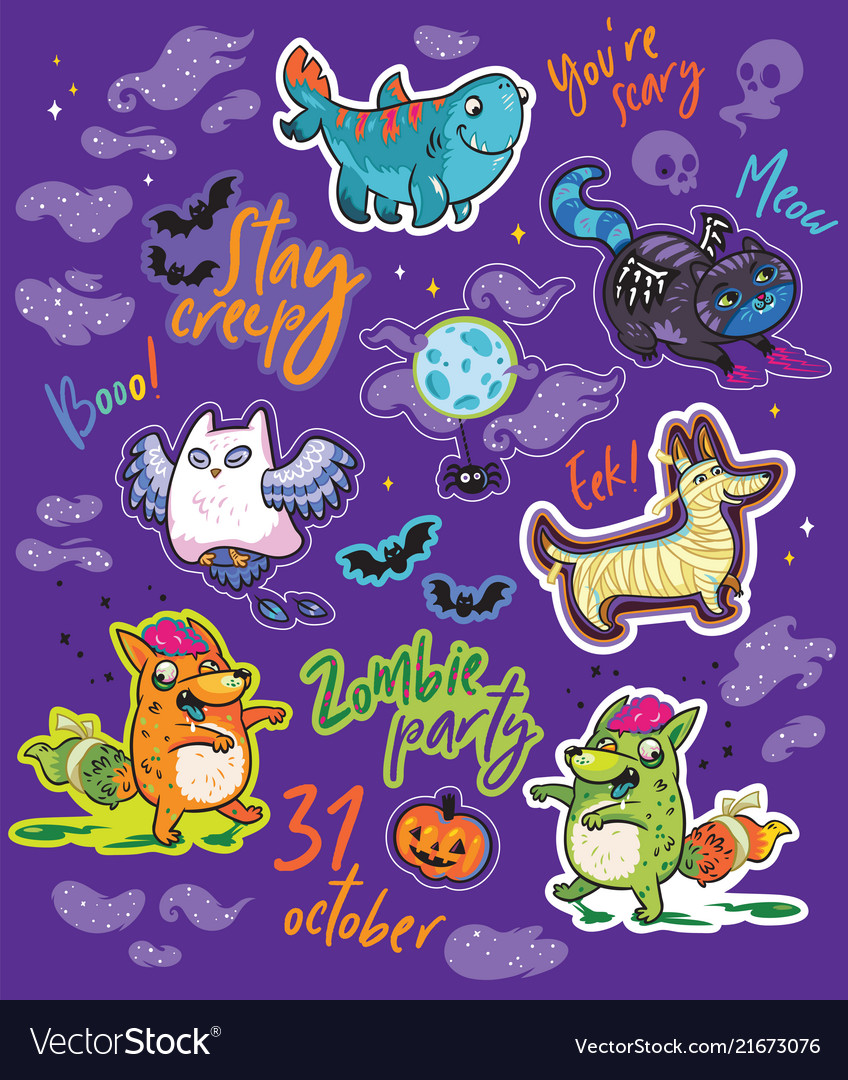 Halloween bright stickers design with owl black